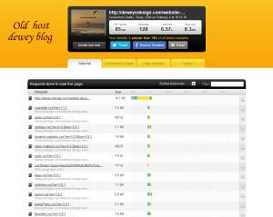 speed test of website designers blog on old host